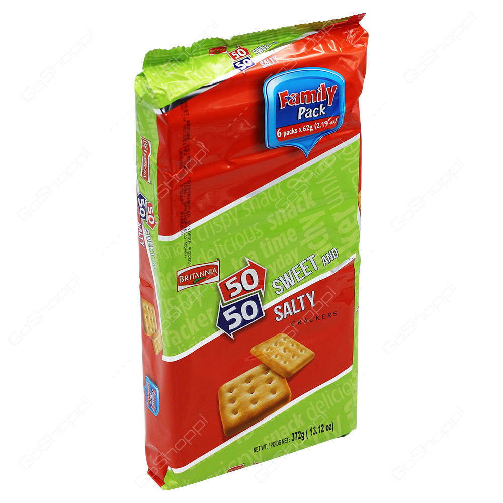 Britannia 50-50 Sweet & Salty Crackers Family Pack 372g