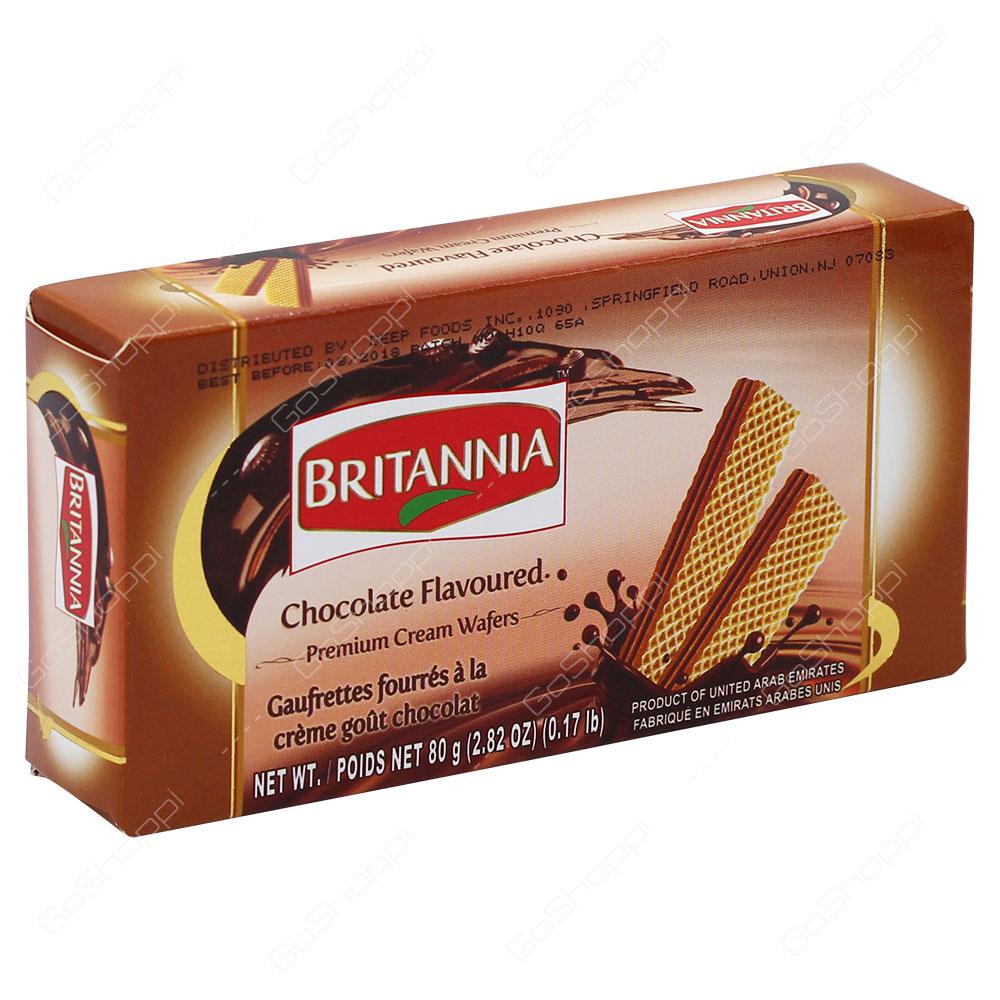 Britannia Chocolate Flavoured Premium Cream Wafers 80g