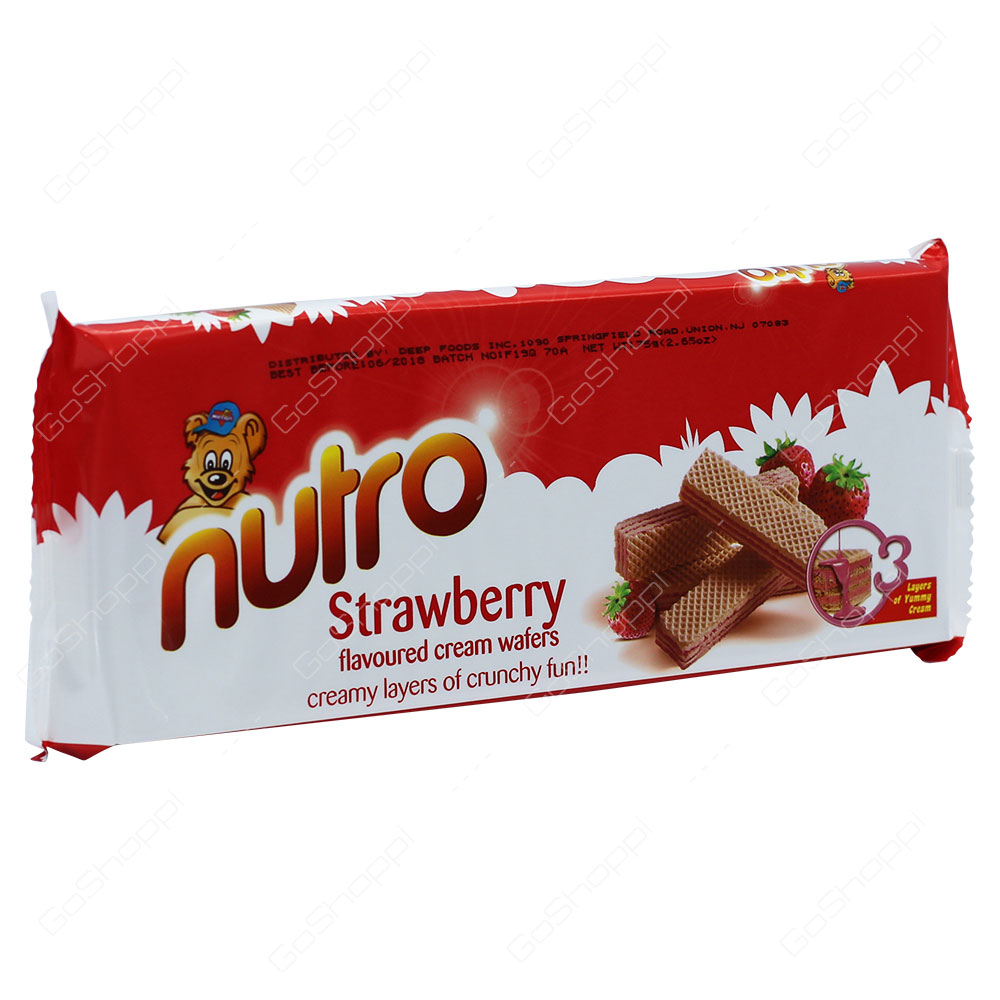 Nutro Strawberry Flavoured Cream Wafers 75g