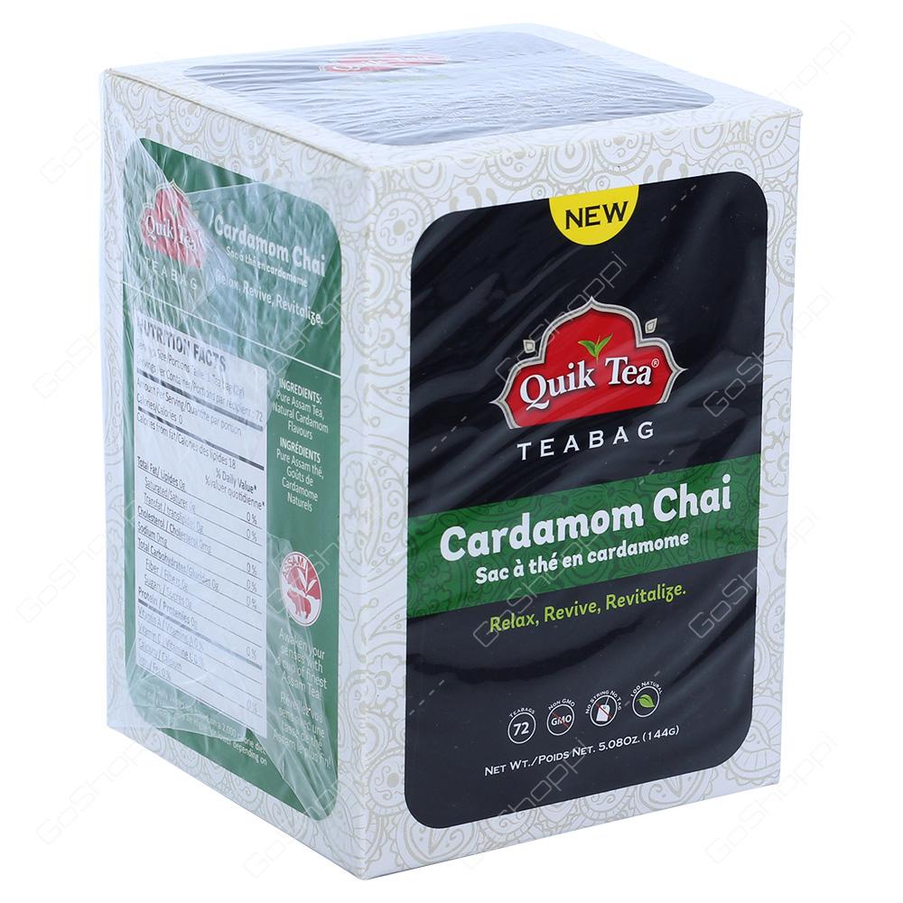 Quik Tea Cardamom Chai Tea Bags 72Bags